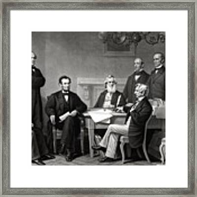 President Lincoln And His Cabinet Framed Print