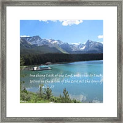 Psalm 27 With Maligne Lake Framed Print by Linda Feinberg