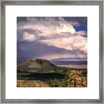 Rainbow Over Cedar Mountain Framed Print by Claudia Abbott