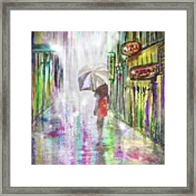 Rainy Paris Day Framed Print by Darren Cannell