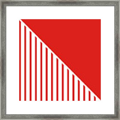 Red And White Triangles Framed Print by Linda Woods