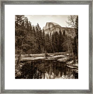 Reflecting Yosemite Half Dome Skies - Sepia Edition Framed Print by Gregory Ballos
