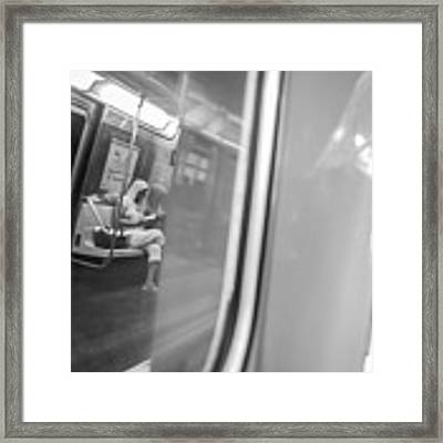 Reflections In New York City Subway Framed Print by Ranjay Mitra
