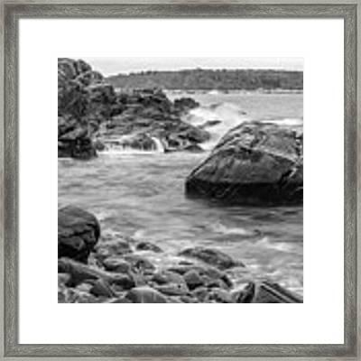Rocky Coast Of Maine In Bw Framed Print by Doug Camara
