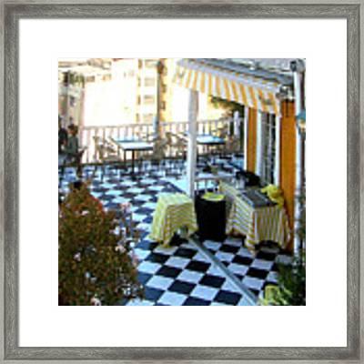 Rooftop Cafe Framed Print by Karen Zuk Rosenblatt