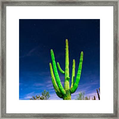 Saguaro Cactus Against Star Filled Sky Framed Print by Bryan Mullennix