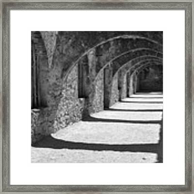 San Antonio Mission San Jose - Black And White Framed Print by Gregory Ballos