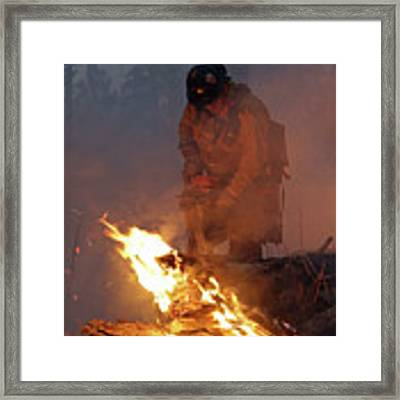 Sawyer, North Pole Fire Framed Print by Bill Gabbert