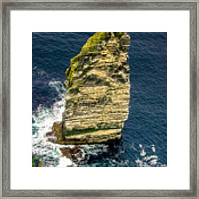 Sea Stack Cliffs Of Moher, Northern Ireland Framed Print by Claudia Abbott