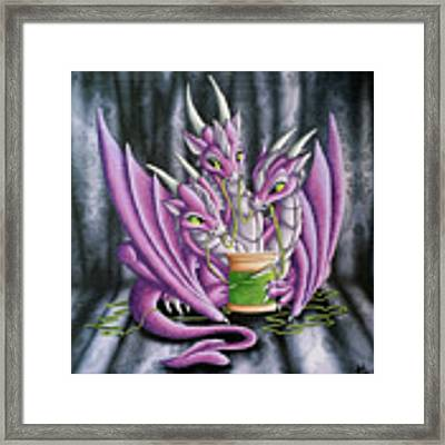 Sewing Dragons Framed Print by Mary Hoy