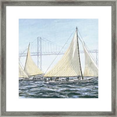 Skipjacks Racing Chesapeake Bay Maryland Detail Framed Print by G Linsenmayer
