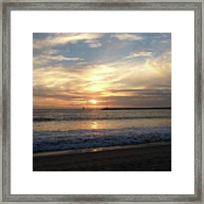 Sky Swirls Over Toes Beach Framed Print by Lorraine Devon Wilke