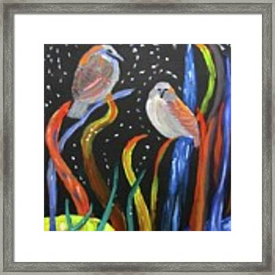 Sparrows Inspired By Chihuly Framed Print by Linda Feinberg