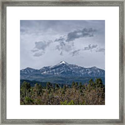 Spring Storm Behind Pagosa Peak Framed Print by Jason Coward