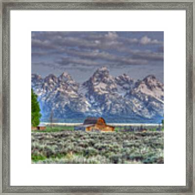 Spring Teton Barn  Framed Print by David Armstrong