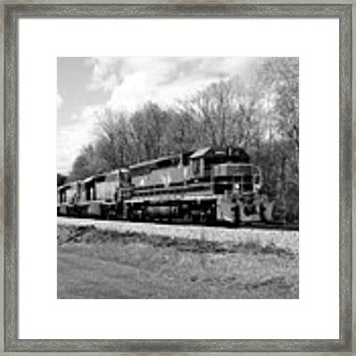 Sprintime Train In Black And White Framed Print by Rick Morgan