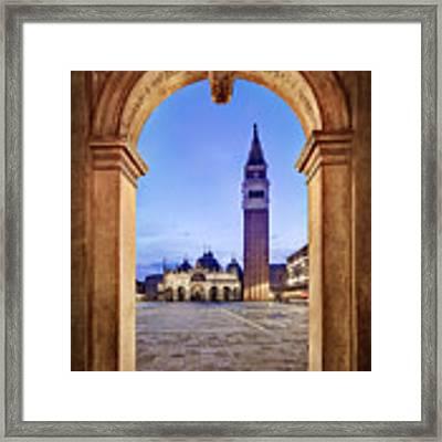 St Mark's Square Arch - Venice Framed Print by Barry O Carroll
