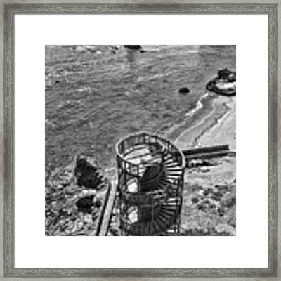 Stairs To Nowhere Pismo Beach Black And White Framed Print by Priya Ghose