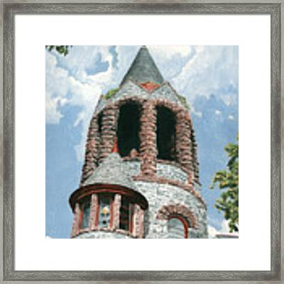 Stone Church Bell Tower Framed Print by Dominic White