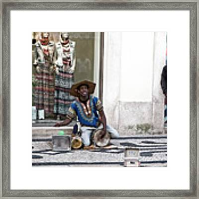 Street Music, Lisboa Framed Print by Lorraine Devon Wilke