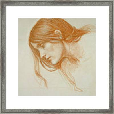 Study Of A Girls Head Framed Print