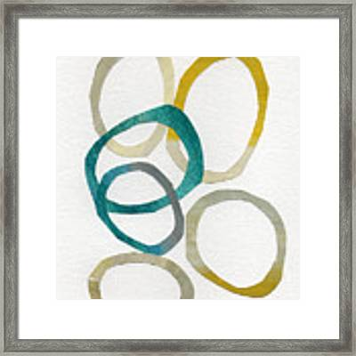 Sun And Sky- Abstract Art Framed Print by Linda Woods