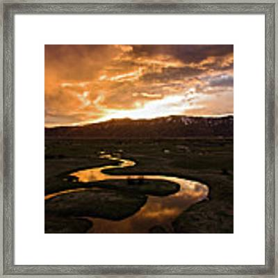 Sunrise Over Winding River Framed Print by Wesley Aston