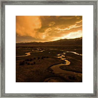 Sunrise Over Winding Rivers Framed Print by Wesley Aston