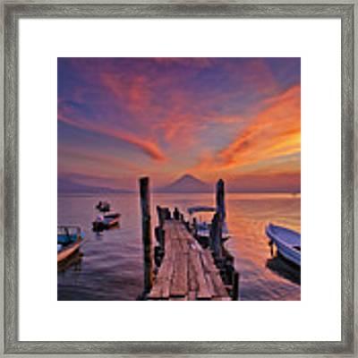 Sunset At The Panajachel Pier On Lake Atitlan, Guatemala Framed Print by Sam Antonio Photography