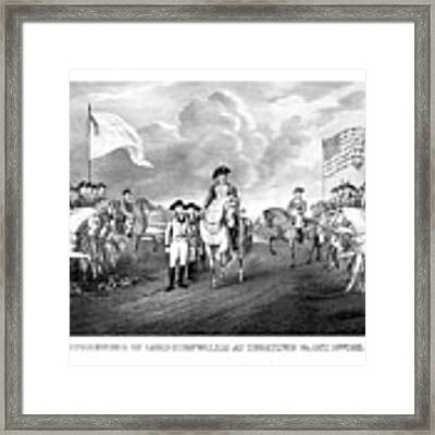Surrender Of Lord Cornwallis At Yorktown Framed Print by War Is Hell Store