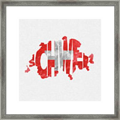 Switzerland Typographic Map Flag Framed Print
