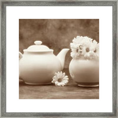 Teapot With Daisies II Framed Print