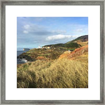 Terceira Island, Ilheus De Cabras And Lighthouse Of Ponta Das Contendas Framed Print by Kelly Hazel