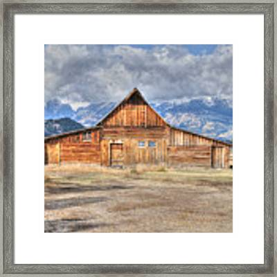 Teton Barn Front View Framed Print by David Armstrong