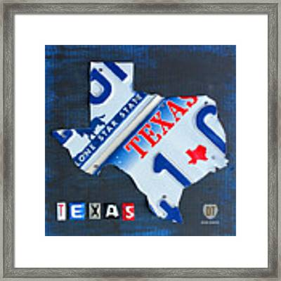Texas License Plate Map Framed Print