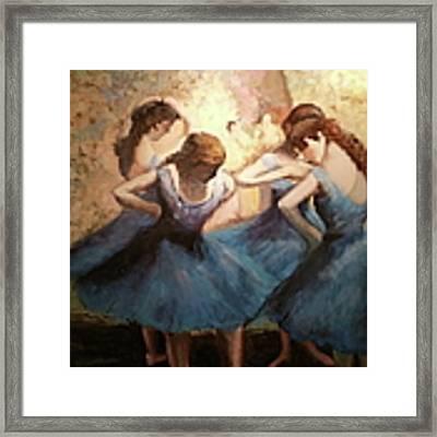 The Blue Ballerinas - A Edgar Degas Artwork Adaptation Framed Print by Rosario Piazza