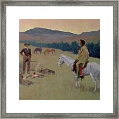 The Conversation Framed Print by Frederic Remington