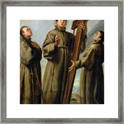 The Franciscan Martyrs In Japan Framed Print by Don Juan Carreno de Miranda