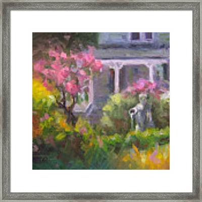 The Guardian - Plein Air Lilac Garden Framed Print by Talya Johnson