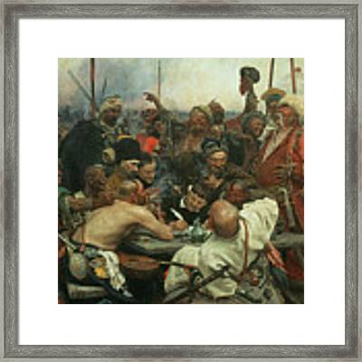 The Zaporozhye Cossacks Writing A Letter To The Turkish Sultan Framed Print by Ilya Efimovich Repin