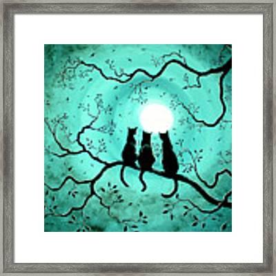 Three Black Cats Under A Full Moon Framed Print