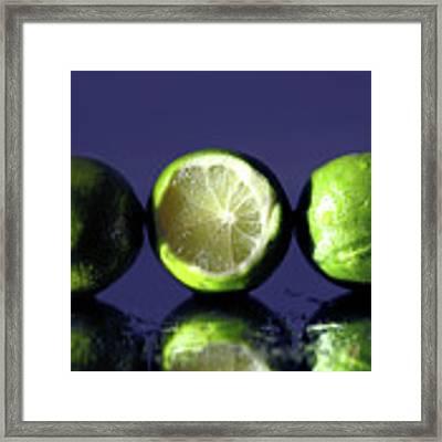 Three Limes Framed Print by Angela Murdock