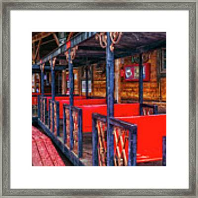 Train In Amusement Park Framed Print by Gunter Nezhoda