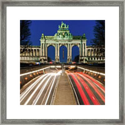 Arcade Du Ciquantenaire At Blue Hour Framed Print by Barry O Carroll