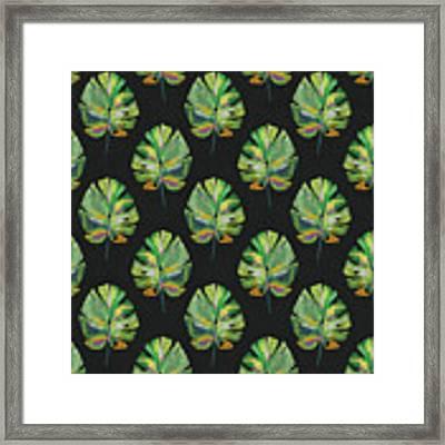 Tropical Leaves On Black- Art By Linda Woods Framed Print