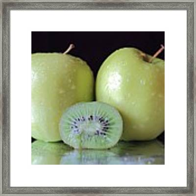 Two Apples And A Kiwi Framed Print by Angela Murdock