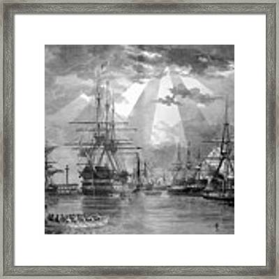 U.s. Naval Ships At The Brooklyn Navy Yard Framed Print