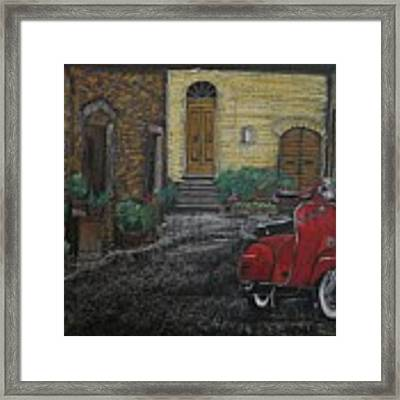Vespa In The Rain Framed Print by Richard Le Page