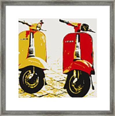 Vespa Scooter Pop Art Framed Print by Michael Tompsett