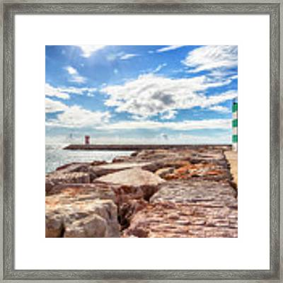 view at Atlantic ocean from breakwater Framed Print by Ariadna De Raadt